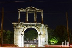 Arch of Hadrian. Night in Athens