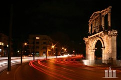 Arch of Hadrian. Night lights in Athens
