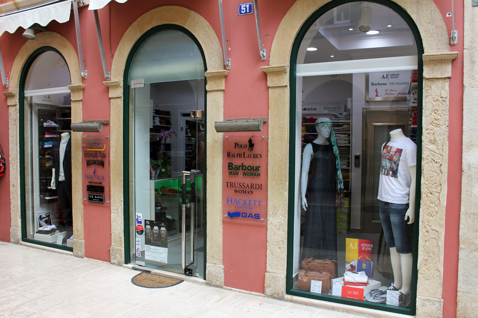 Outlet. Women's and men's fashion store, Corfu
