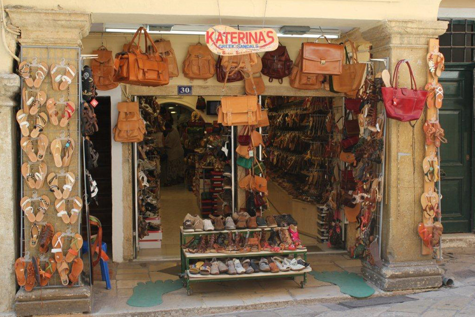 Katerina's Greel Sandals. Leather sandals and bags, Corfu