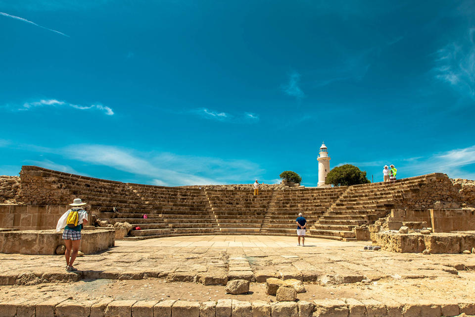 Paphos lighthouse and ancient theatre)